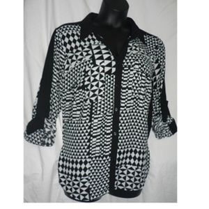Kelly Rene Plus 3X Blouse Dress Shirt Roll Sleeve